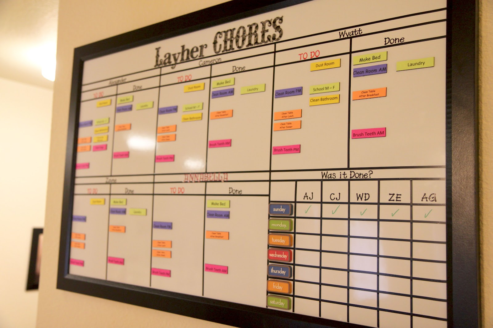 Organized chaos multi child magnetic and dry erase chore chart