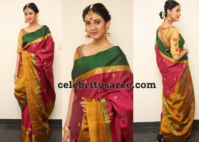 Andleeb in Tri Color Saree