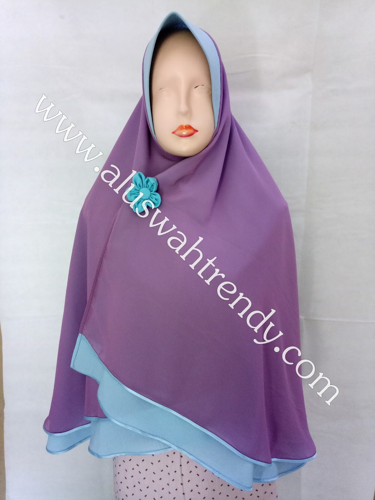 Jilbab Khimar Bolak Balik Dua Warna Biru Ungu 14