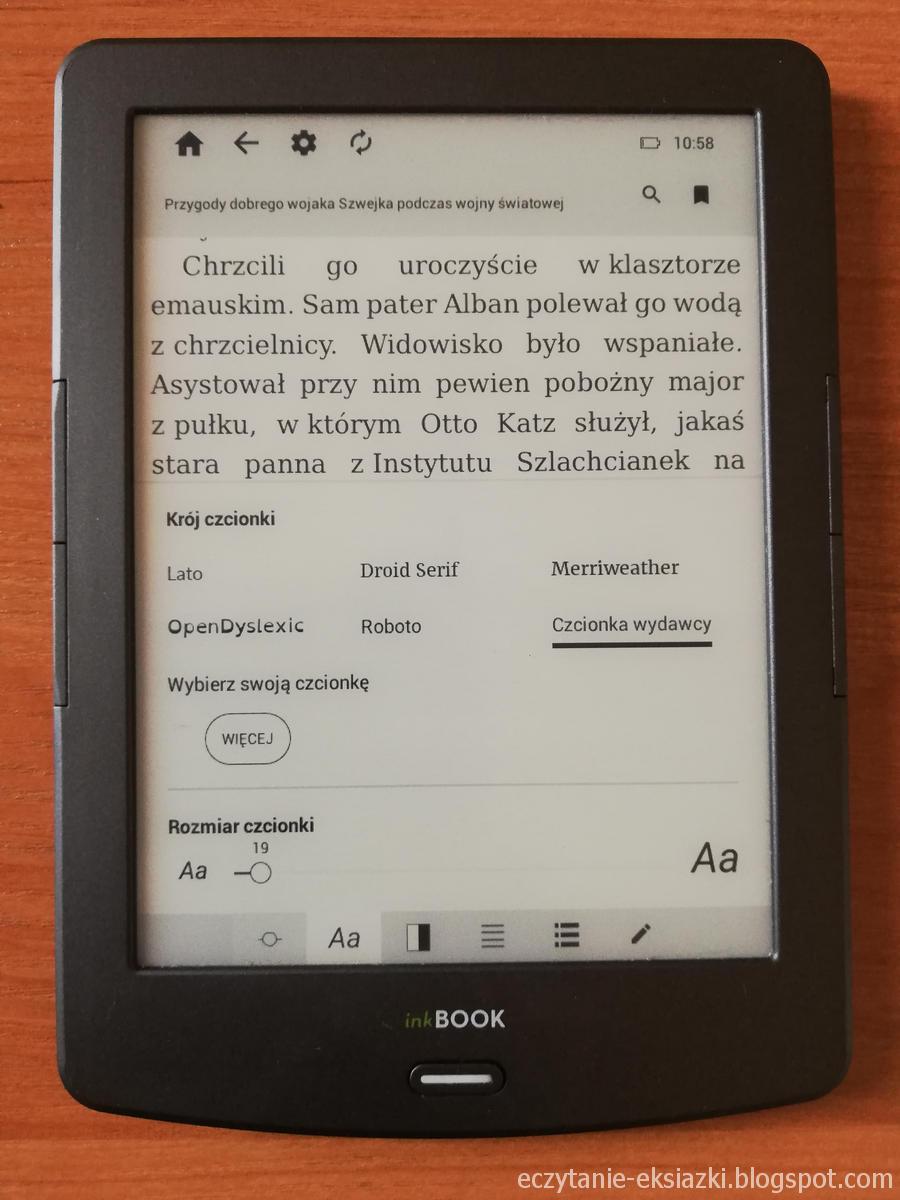 InkBOOK Classic 2 - ustawienia czcionki