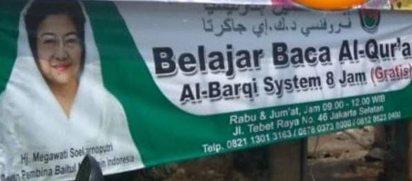 Beredar Spanduk Belajar Baca Alquran Bergambar Megawati