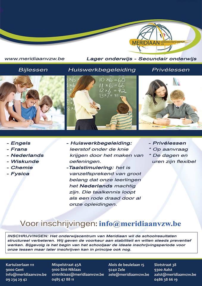 Bijlessen, huiswerkbegeleiding en privélessen. Daarvoor kan je terecht bij vzw Meridiaan in Gent. Elke dinsdag- en donderdagavond bent u welkom.
