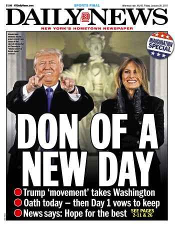 ny daily news cover donald trump Inauguration Day