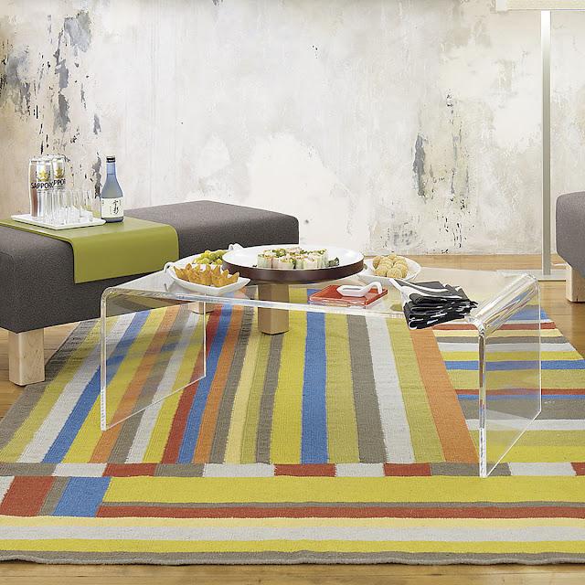 fabuluos simple clear acrylic coffee table on the rainbow rug