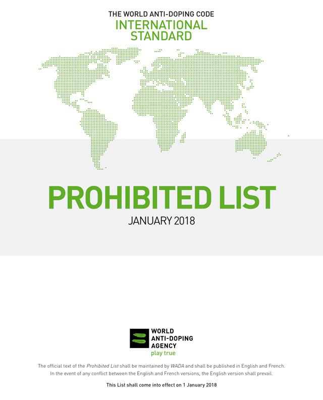 Lista de Substâncias e Métodos Proibidos 2018. Foto: WADA/Reprodução