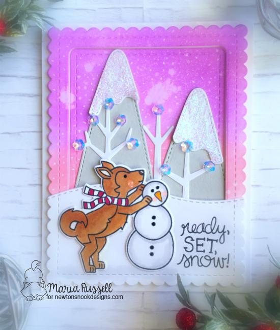 Winter Dog building Snowman | Card by Maria Russell | Winter Woofs Dog Stamp set and Frames & Flags Die Set by Newton's Nook Designs #newtonsnook