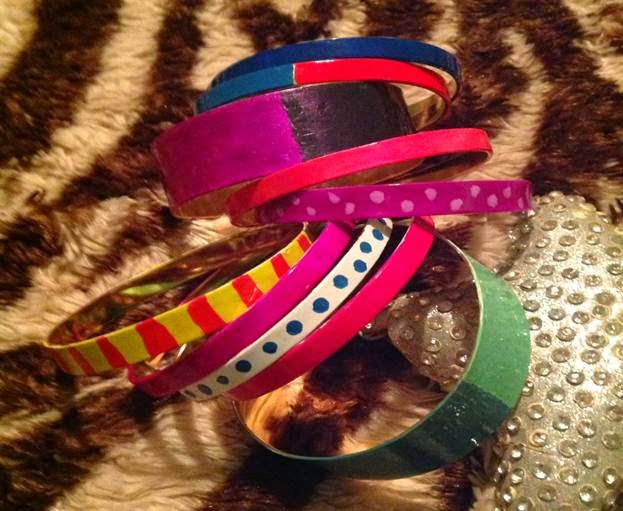 How to make your own colorful bangle bracelets.