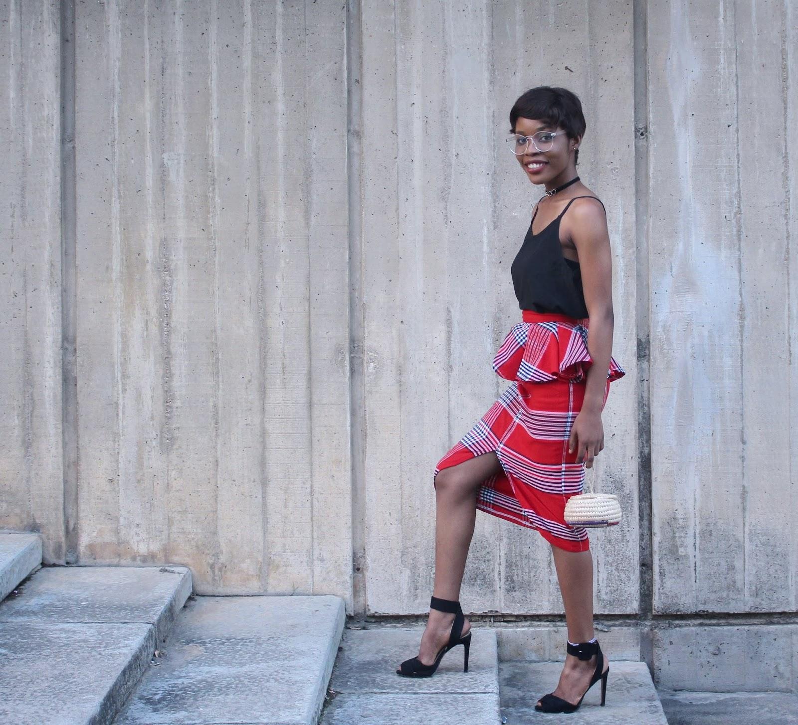 black heels, Aso Oke skirt, raffia purse