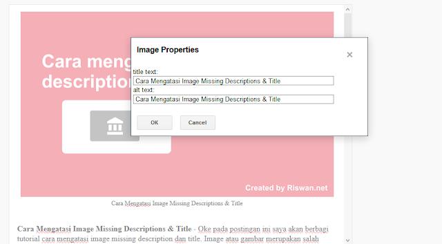 Cara Mengatasi Image Missing Description dan Title