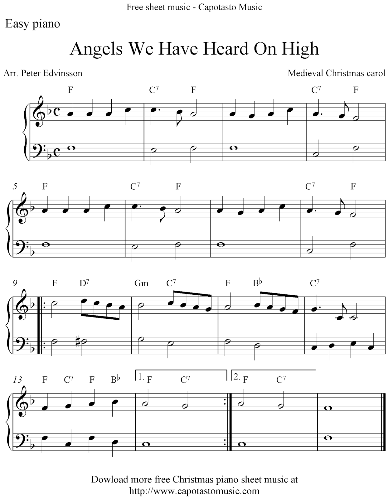 Free Christmas piano sheet music solo, Angels We Have Heard On High