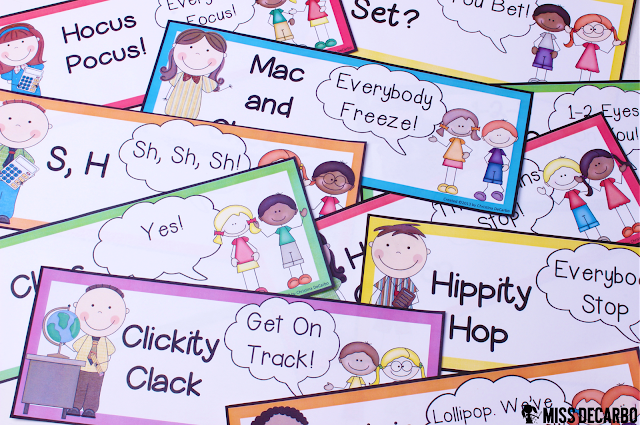 Quiet Chant posters for classroom management: This post contains a BIG collection of fun and engaging activities, lessons, and ideas for the first week of school! - by Miss DeCarbo