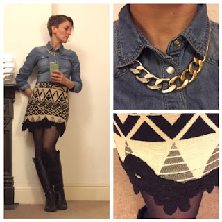 Denim shirt and Ikat skirt