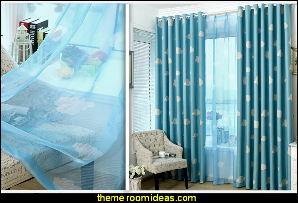 Clouds Thermal Insulated Treatment Blackout Curtains Drapes