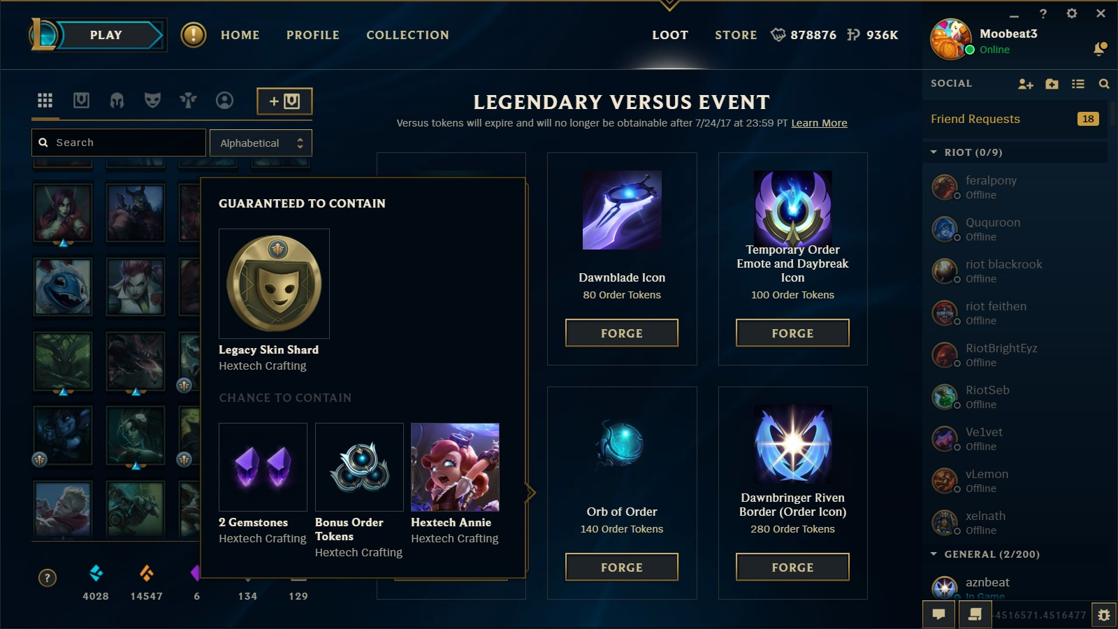 Surrender At 20 61 Pbe Update Legendary Versus Missions Crafting