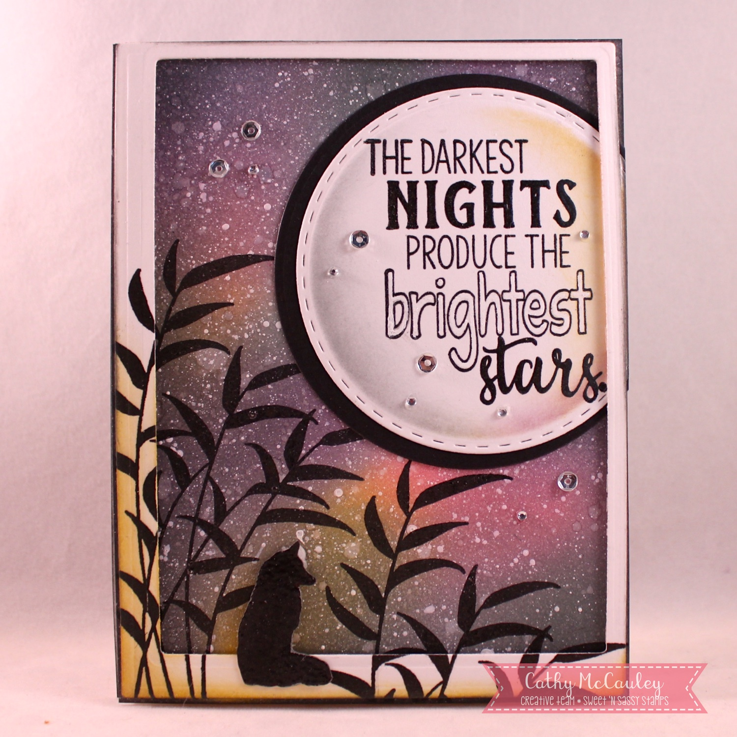 Golden inkspirations just us girls trend week 423 galaxy this is trend week and we are showcasing galaxy backgrounds and night skies my sample features new stamps by sweet n sassy stamps malvernweather Gallery