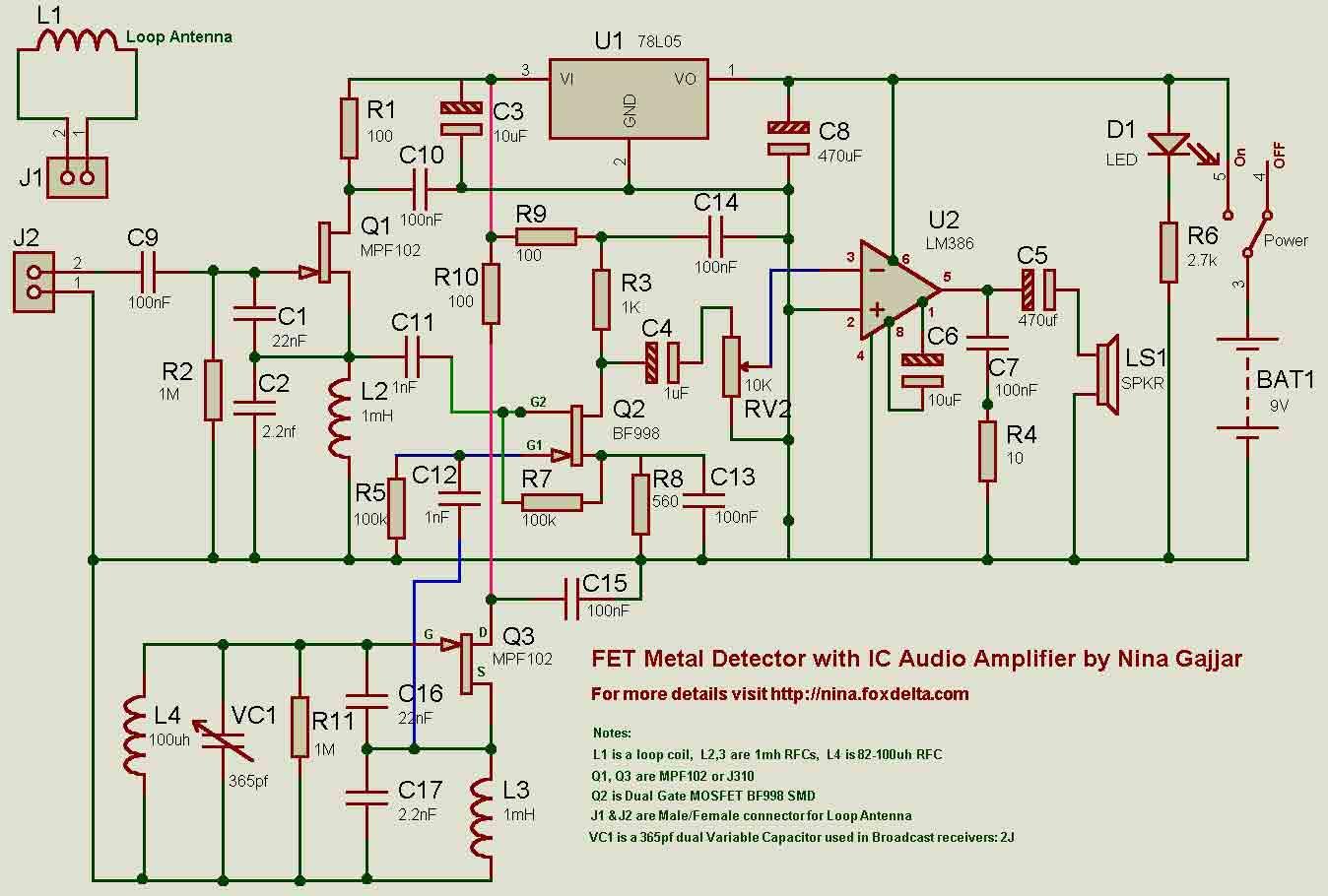 zero beating metal detector circuit diagram