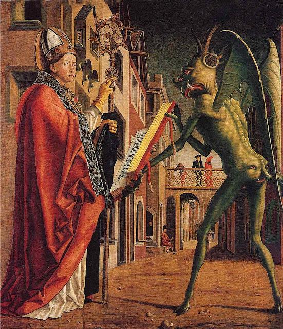São Wolfgang submete o diabo, Michael Pacher (1435 — 1498). Antiga Pinacoteca de Munique
