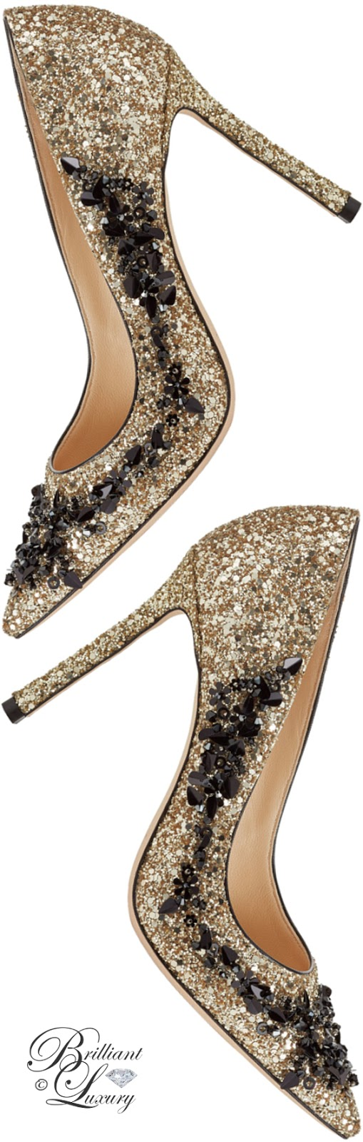 Brilliant Luxury ♦ Jimmy Choo Romy gold coarse glitter fabric pointy-toe pumps