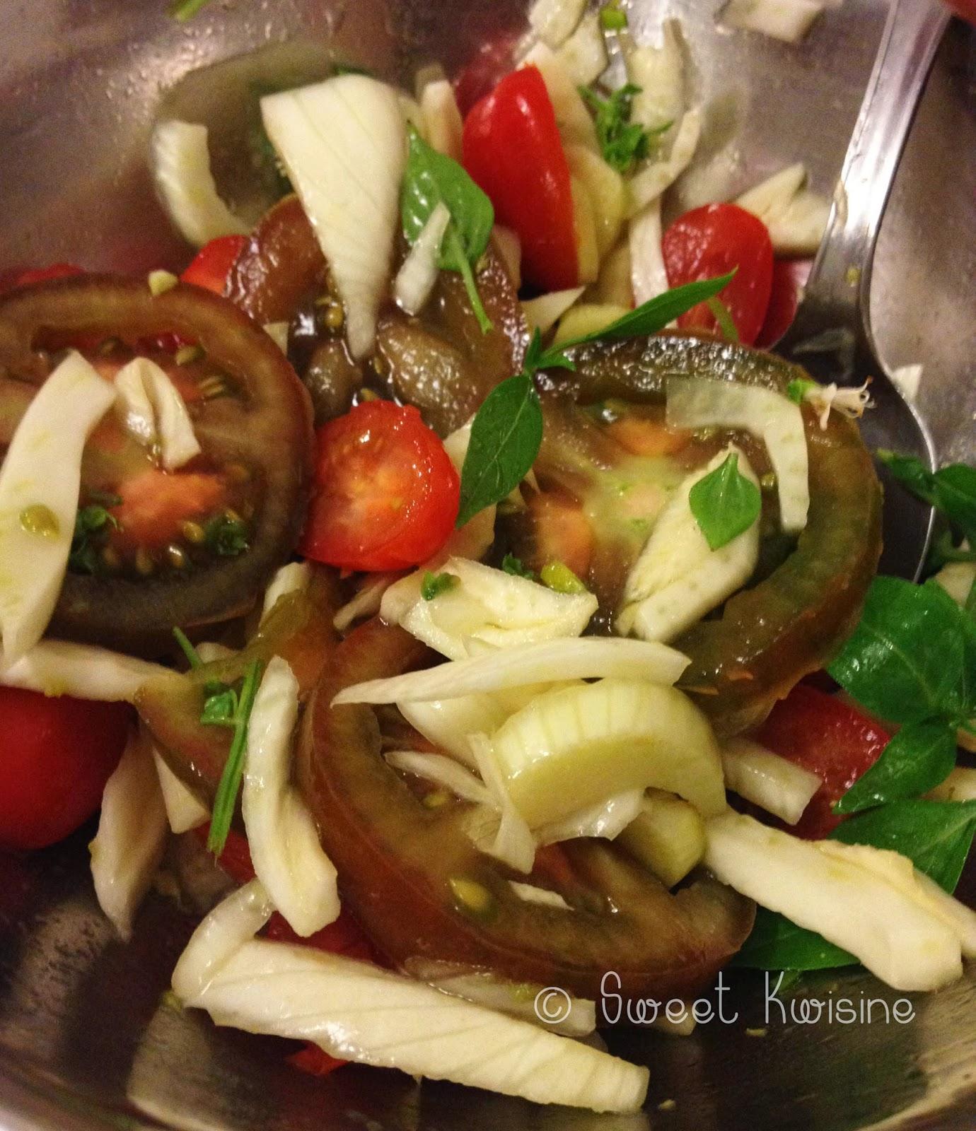 Sweet kwisine, salade, fenouil, tomates, cuisine légère, végétarien, citron, basilic