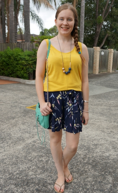 mustard tank kmart lemon print culotte shorts summer sahm style | awayfrpomblue