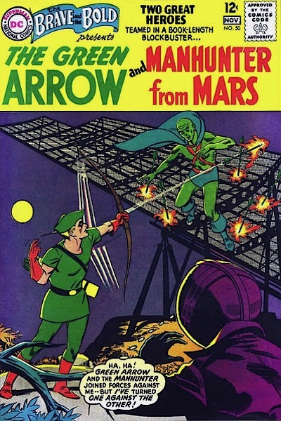 Green Arrow poised on a cliff shooting flame-tipped arrows, the Martian Manhunter teetering on scaffolding