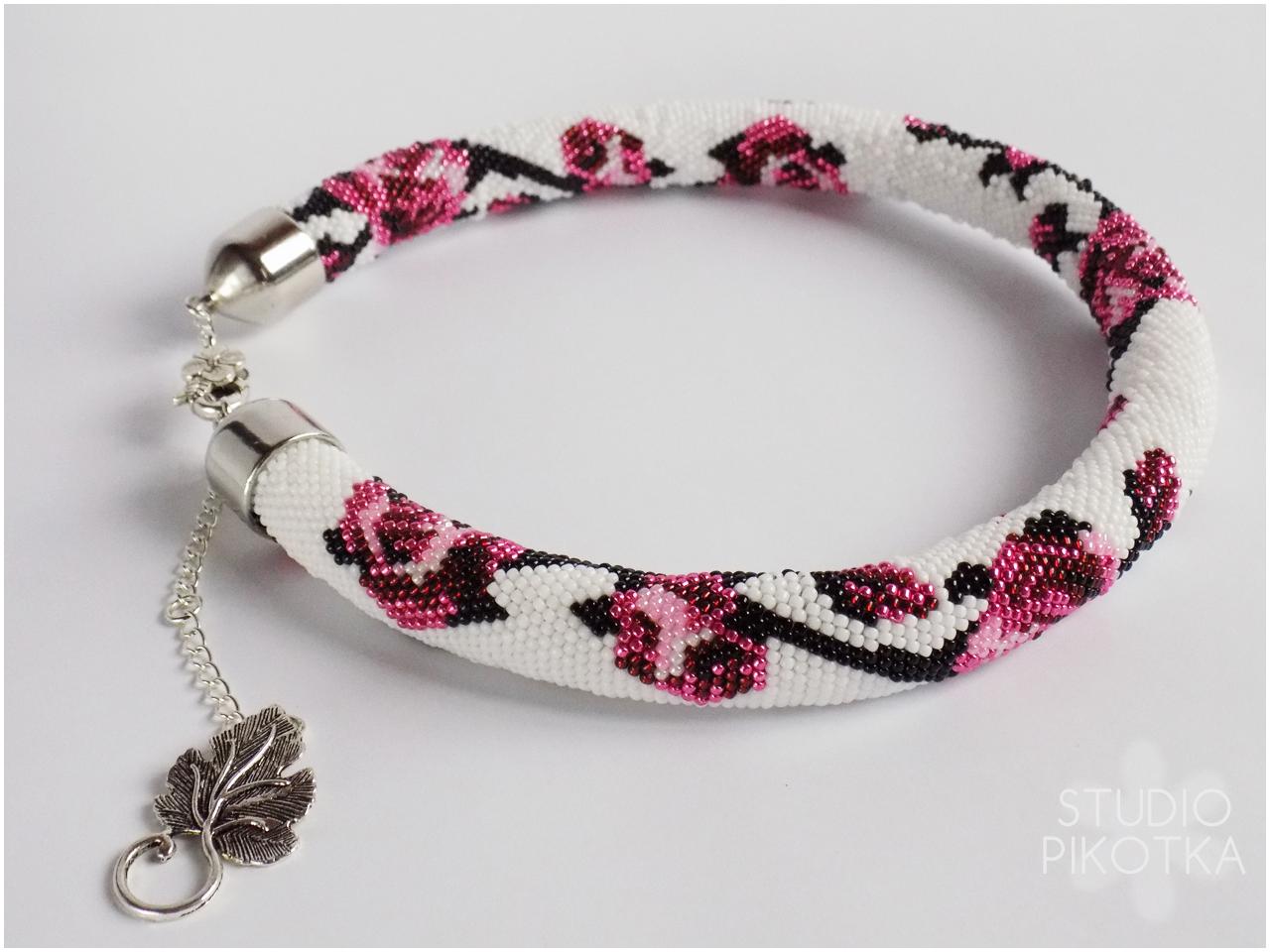 naszyjnik, crochet rope, ukośnik, handmade, biżuteria, rękodzieło, jewellery, toho round,