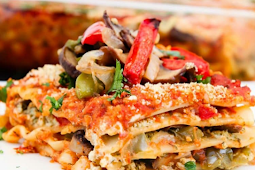 Vegan Lasagna Recipe with Roasted Veggies & Garlic Herb Ricotta #Dinnerfood #easylasgna