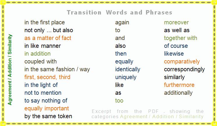 Transitional sentences for essays