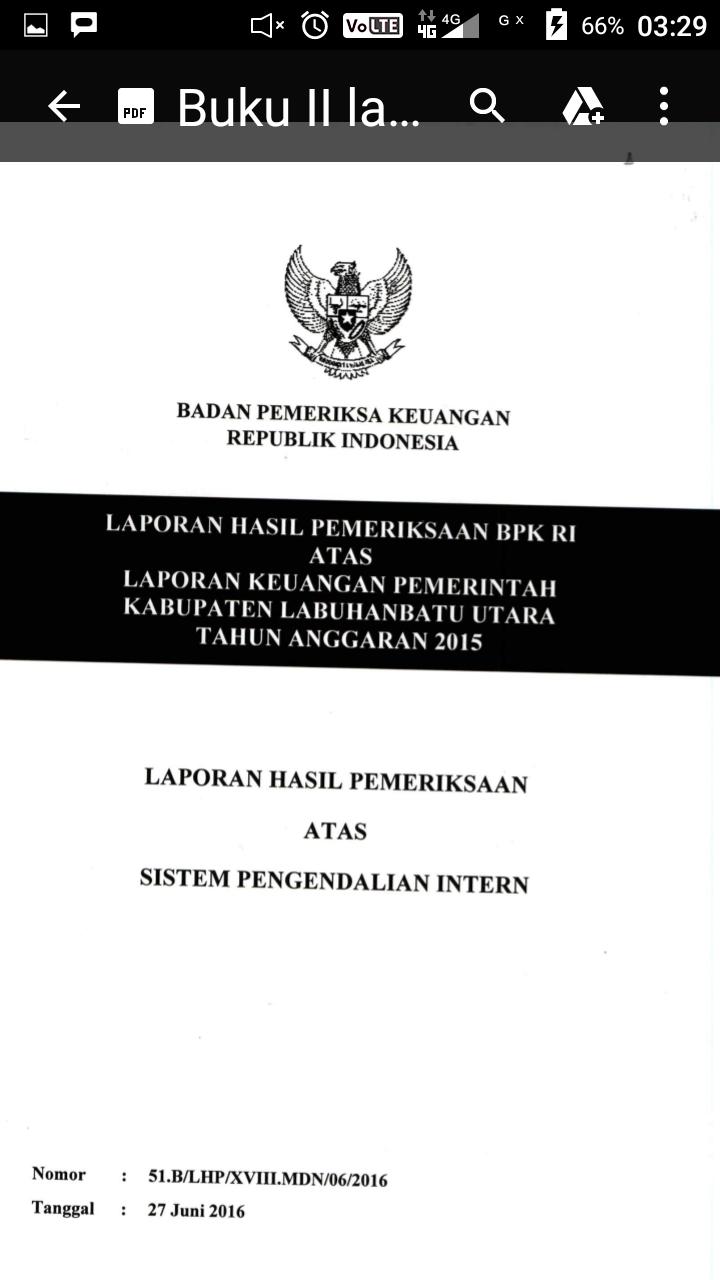 Buku pemeriksaan BPK untuk Kabupaten Labura.