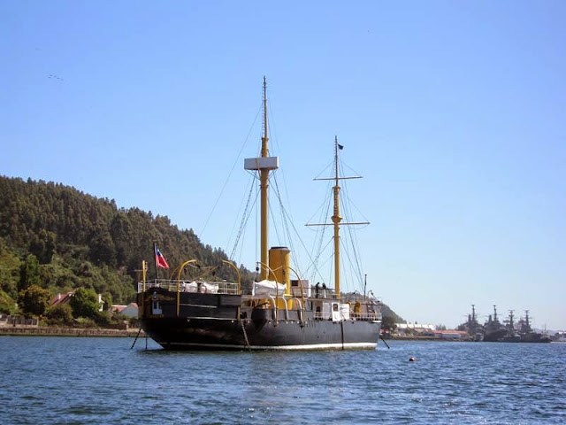 "Ironclad ""Huascar"", Port of Talcahuano, Chile."