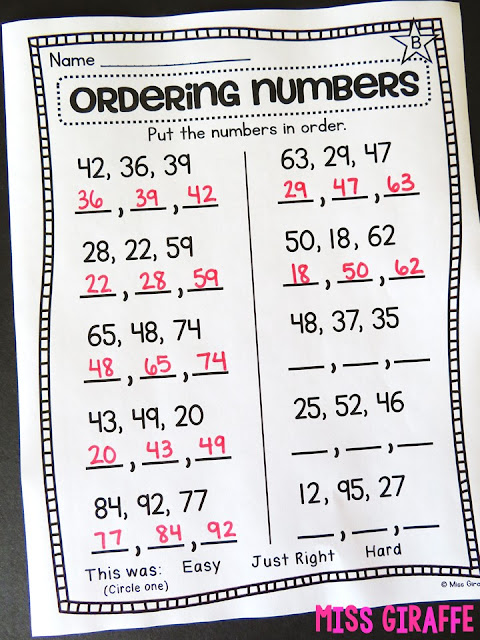 Number order activities and fun worksheets for first grade to put numbers in order from least to greatest