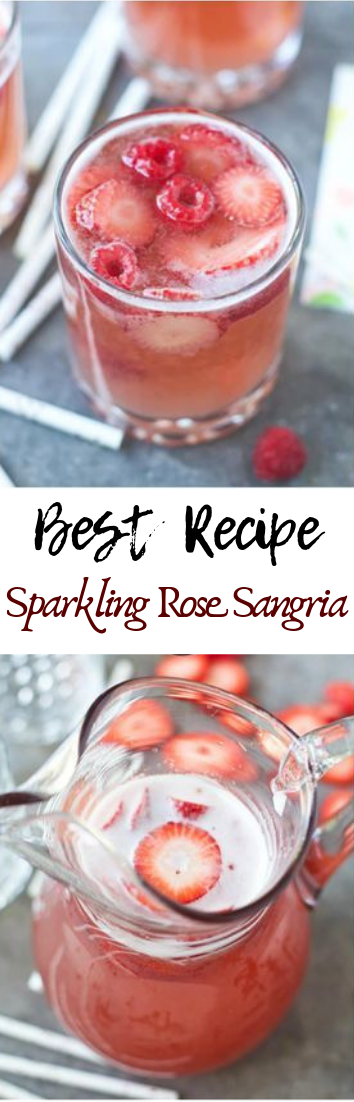 Sparkling Rose Sangria #easyrecipe #cocktail