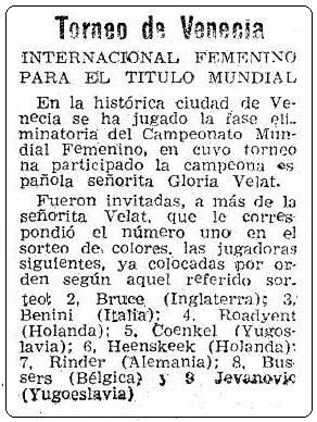 Recorte de Mundo Deportivo sobre el Zonal Femenino de Venecia 1951