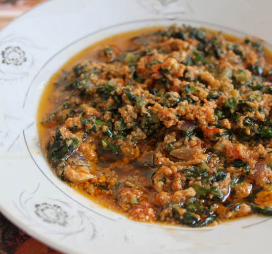 Cassava Leaf Stew Served with Rice