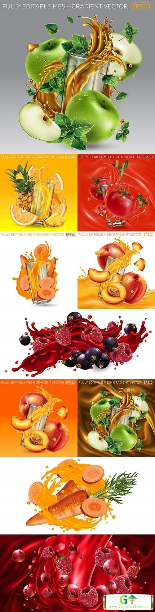 Fruit and berries in glass with splash of fruit juice