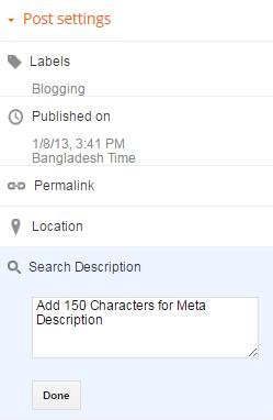 Blogger Post settings