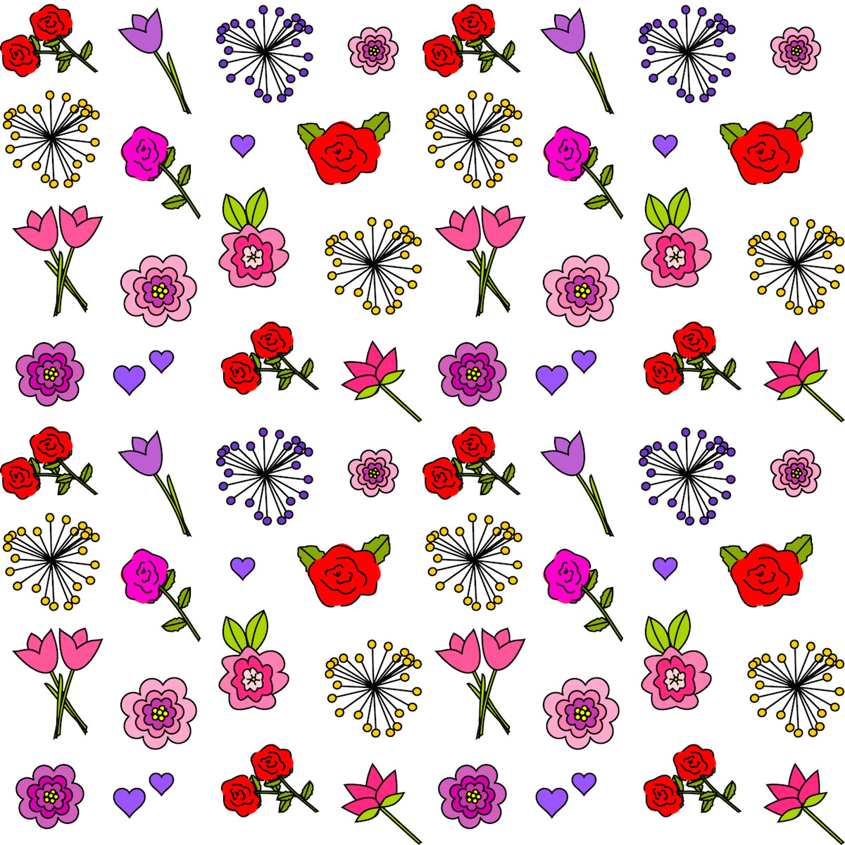 Free Digital Flower Scrapbooking Paper Printable Happy Flower Coloring For Valentines Day