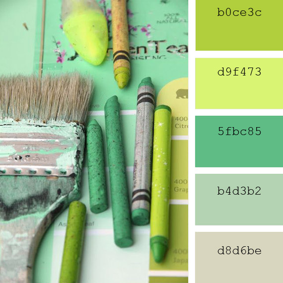 ideas to combinate pastel green color palettes