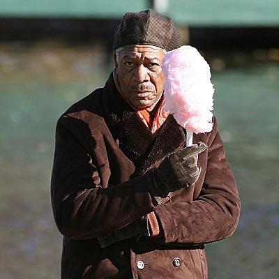 morgan freeman with cotton candy