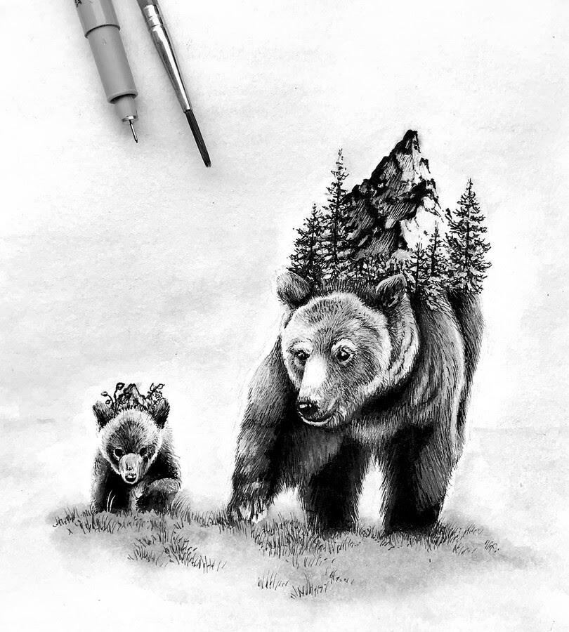 02-Brown Bear and Cub-Alyse-Dietel-Animal-Drawings-Surrealism-www-designstack-co