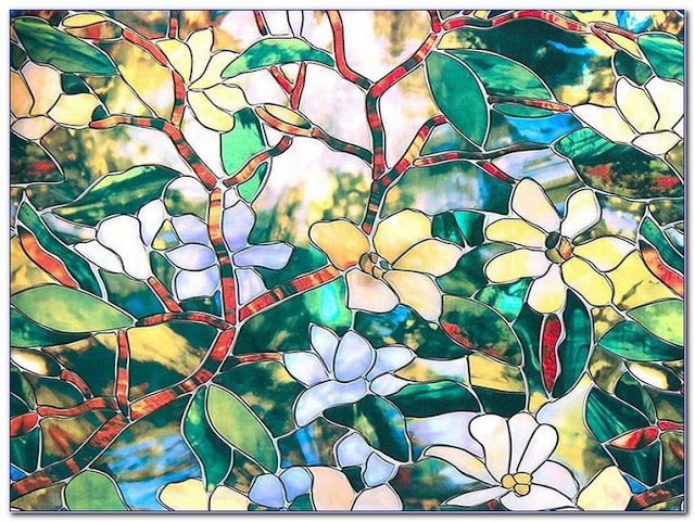 textured stained glass privacy/decorative static cling window film