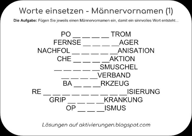 Gedächtnistraining mit Männervornamen, Rätsel, Quiz, Raten