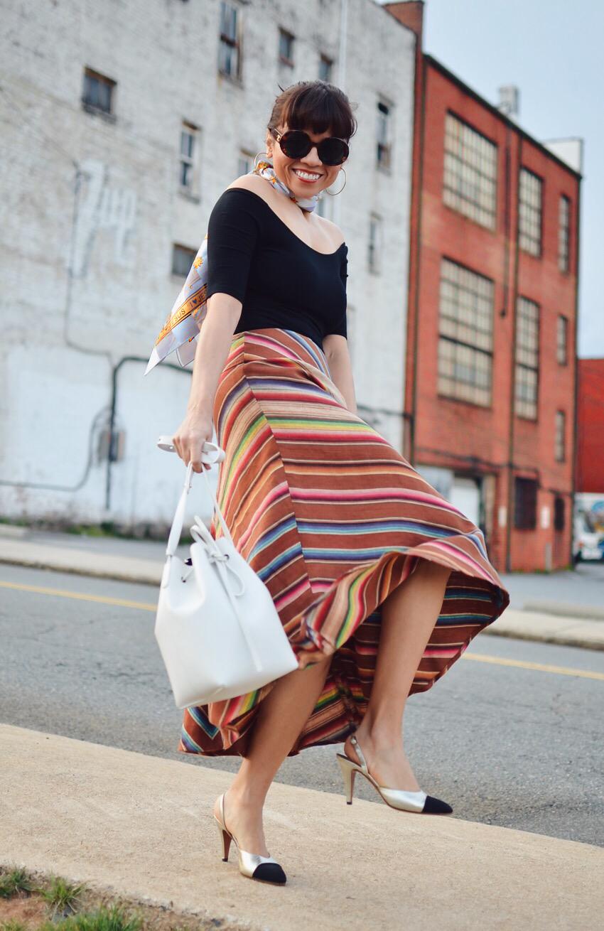 Striped skirt street style