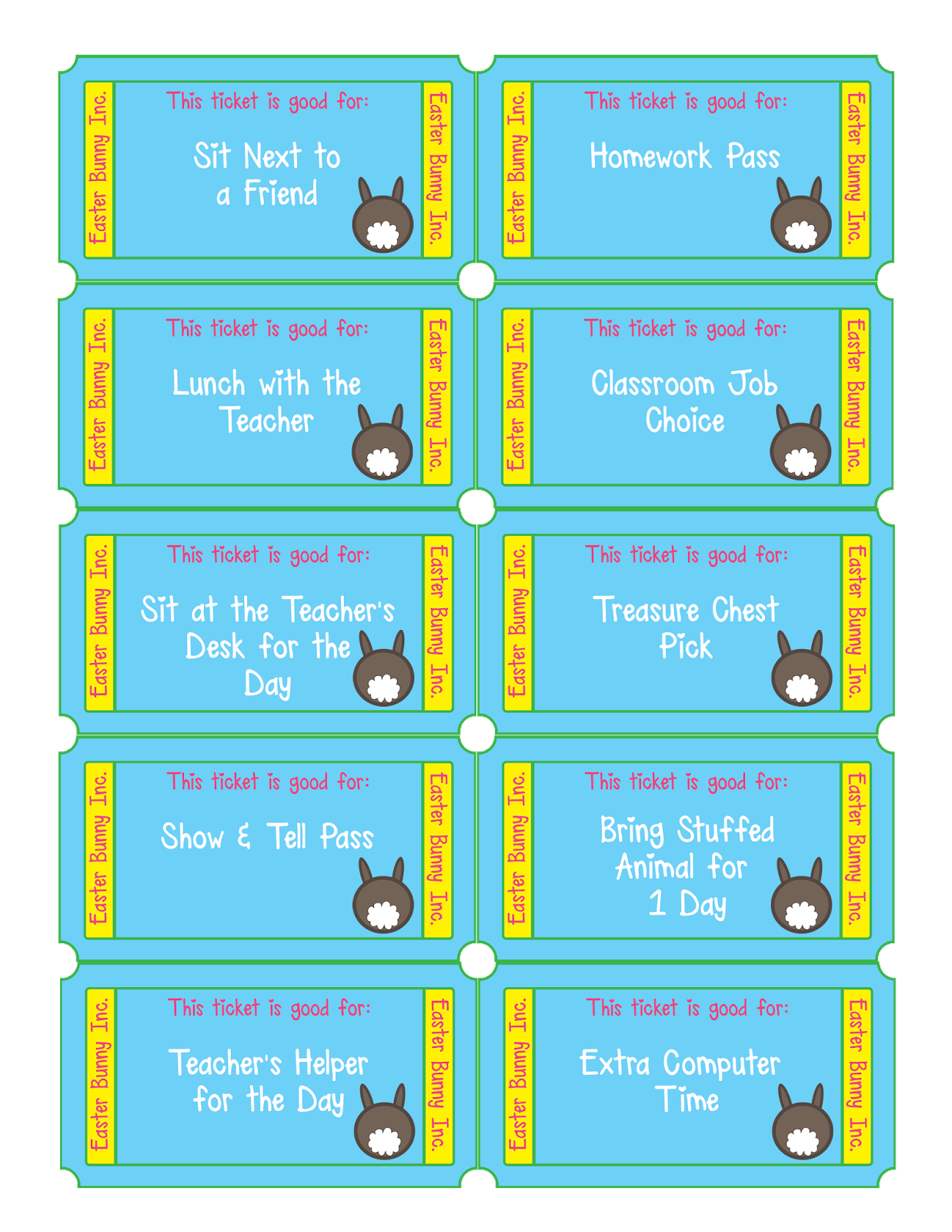 This is from the set for teachers which also includes an entire page of homework passes and a blank page to make your own. There is a set for parents, too! Download at Bed Rested Teacher