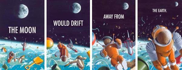 The moon would drift away from the earth Gravity by Jason Chin illustration