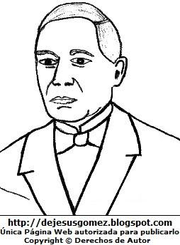 Benito Juárez para colorear pintar imprimir. Dibujo de Benito Juárez de Jesus Gómez