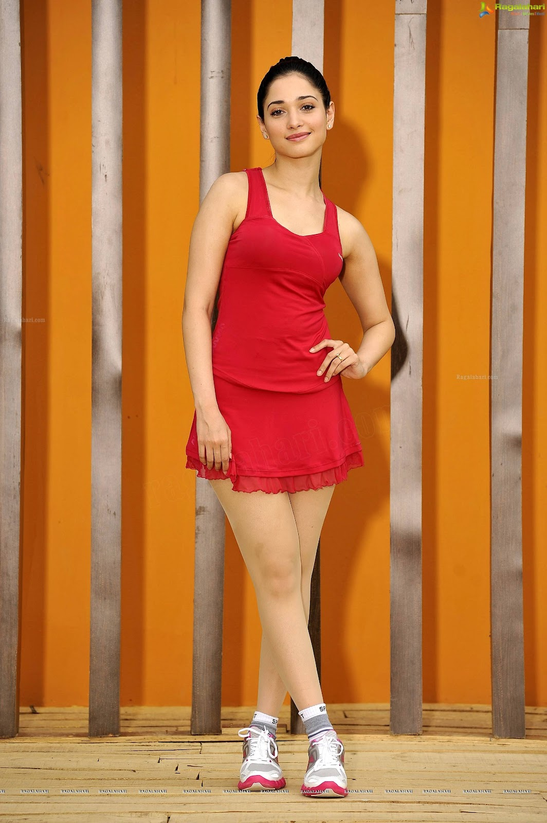 Tamanna Leg Show In Red Short Dress Hd 5 Pics
