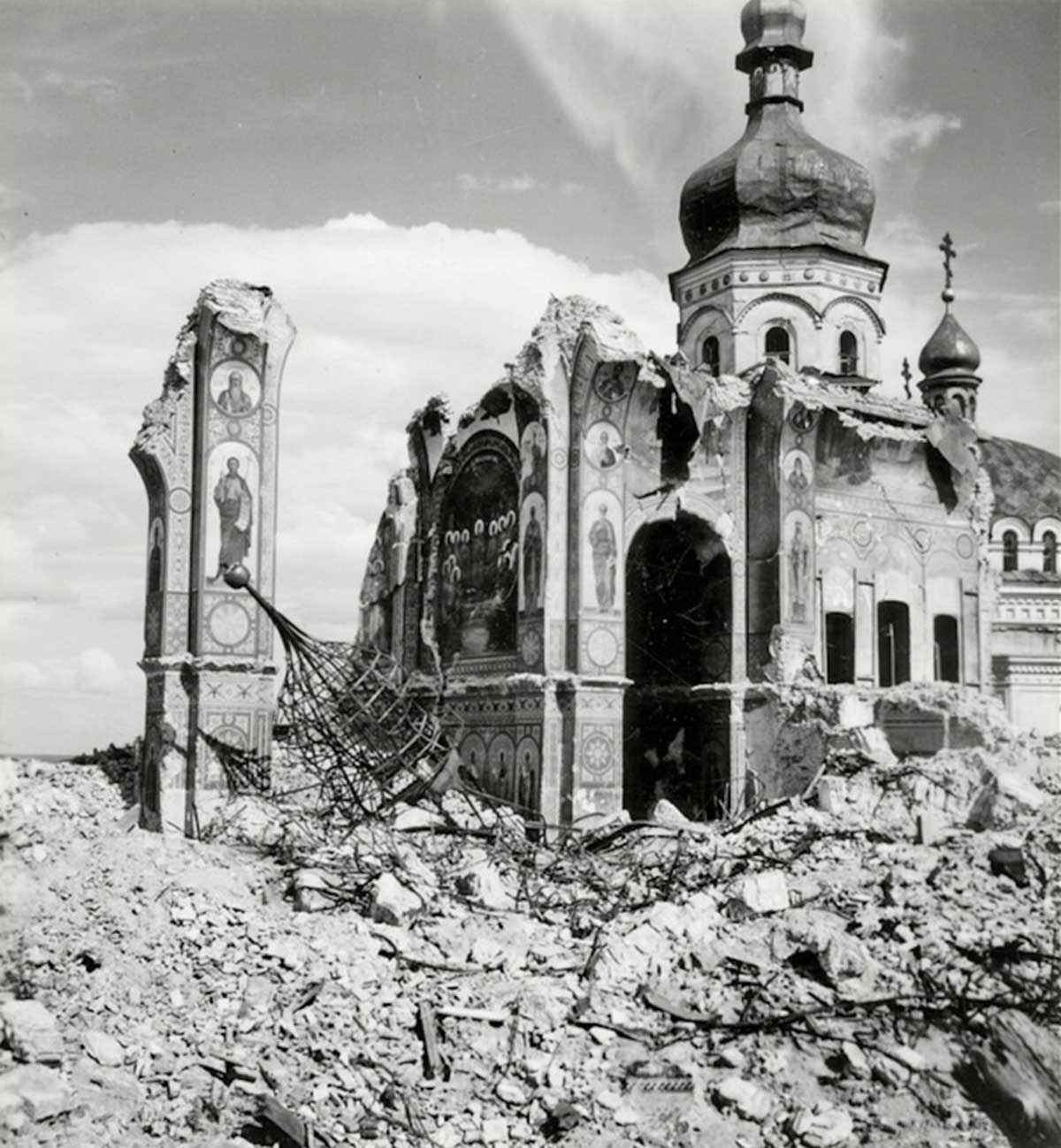 Kiev Pechersk Lavra. Destroyed Cathedrale of Dormition.
