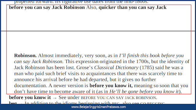 Arti Before You Can Say Jack Robinson