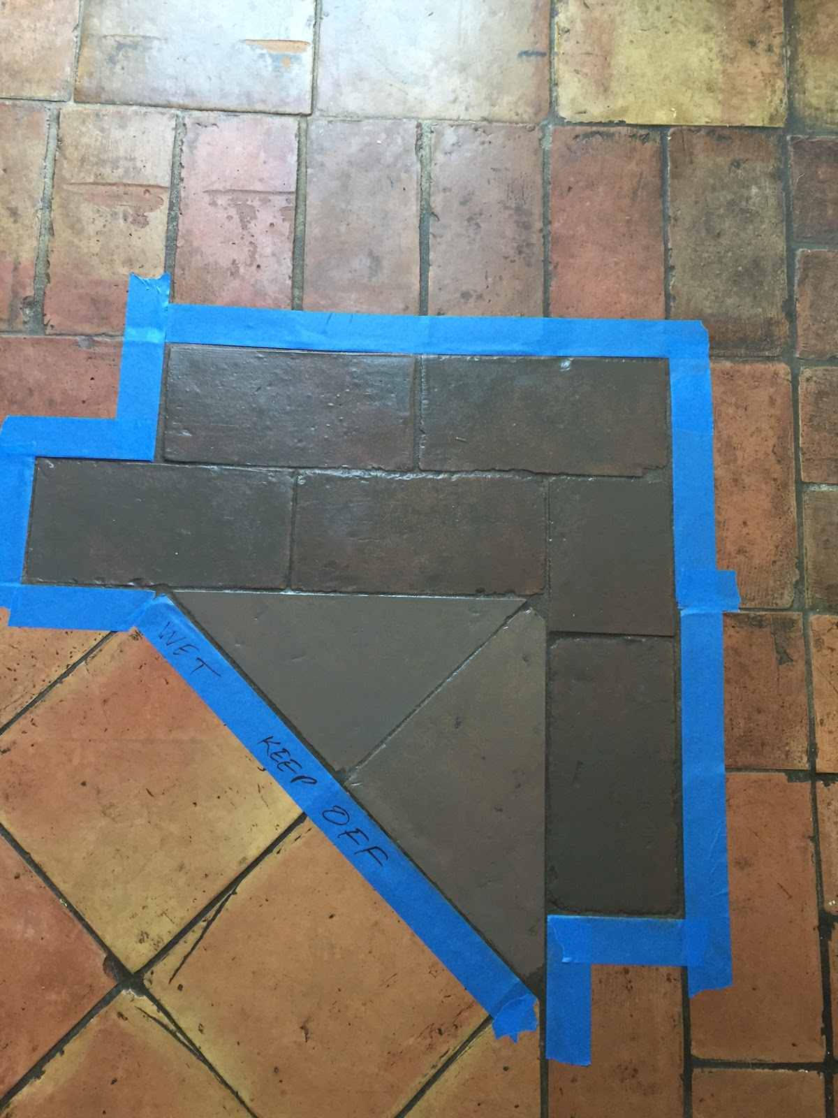 Before And After Staining Saltillo Tile